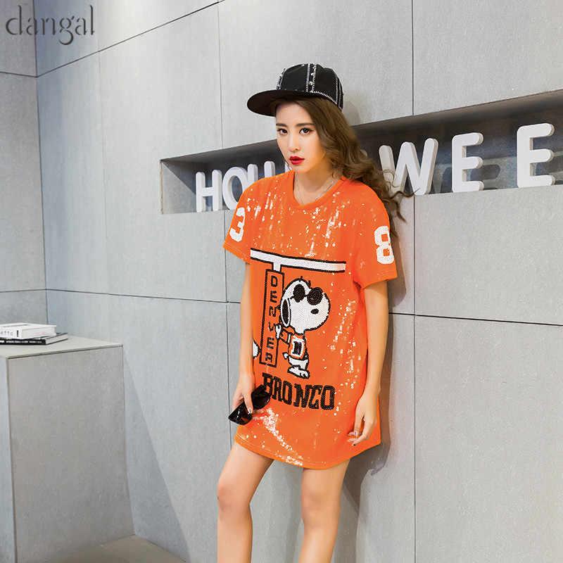 ... Cartoon Sequin T-shirt 2018 Fashion Hip Hop Bling T-shirt Orange Loose T  ... d8d92f40e6ff