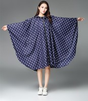 Women Rain Poncho Stylish Waterproof Rain Coat With Hood Deep Blue Color And White Dots Freesmily