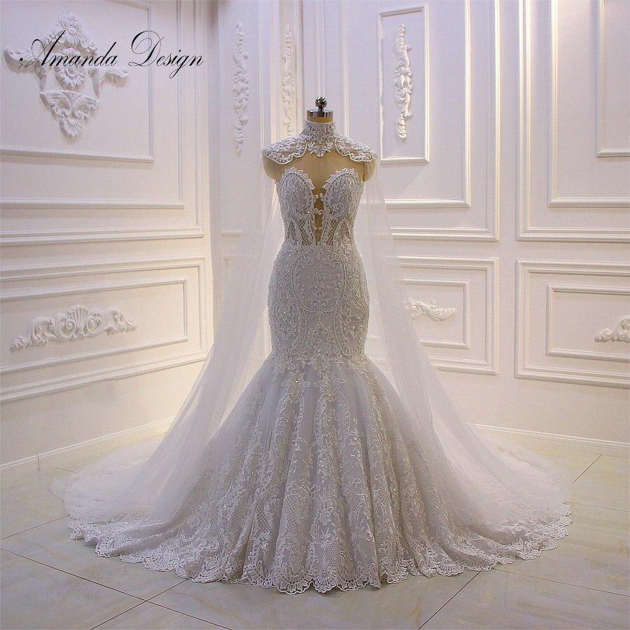 Amanda Design vestidos novias boda Cap Sleeve Lace Appliques Mermaid Wedding Dress With Cape