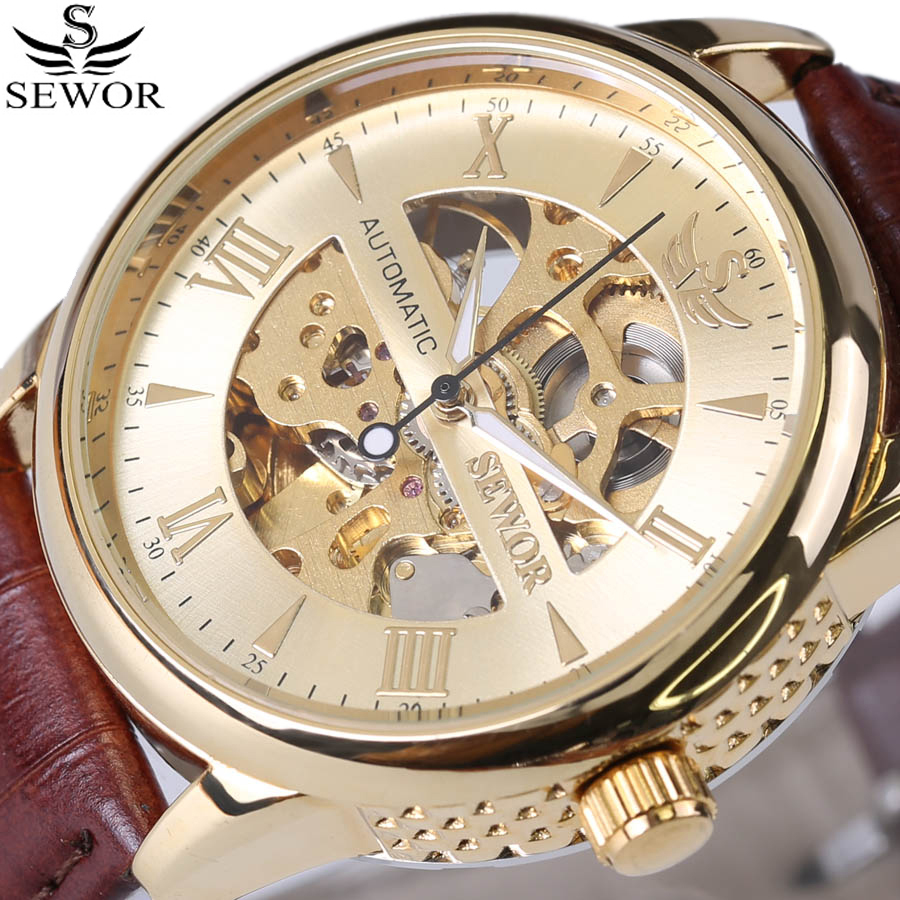 Sewor classic series vintage style men 39 s skeleton watches top brand automatic mechanical watch for Classic skeleton watch