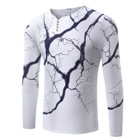 Gresanhevic New 2018 Men S Casual Henley Shirts Lightning Slim Fit Long Sleeve Button T Shirt