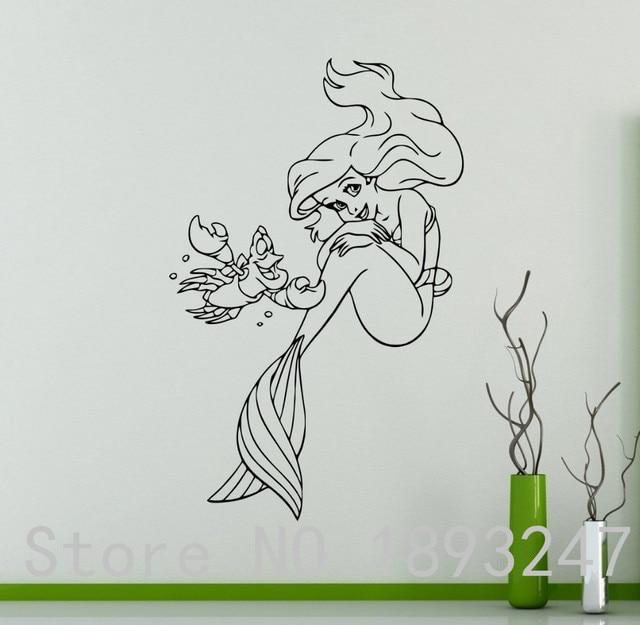Free Shipping Princess Ariel Vinyl Decal Little Mermaid Wall Sticker Cartoons Home Interior Children S Nursery Room