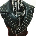 Black Rivet Leather Jacket Men Sleeveless Waistcoat Stage Singer Costume Men Punk Rock Vest High Fashion Menswear Cool Clothing