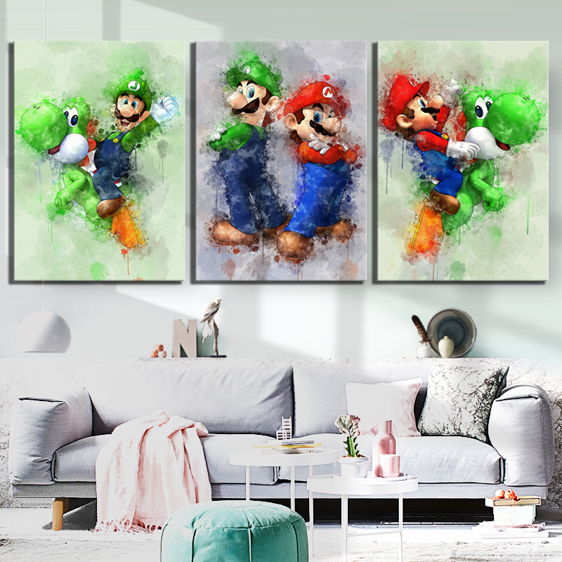 3 Piece Super Smash Bros Game Poster Picture Super Mario Cartoon Pictures Abstract Art Canvas Paintings for Home Decor Wall Art 2
