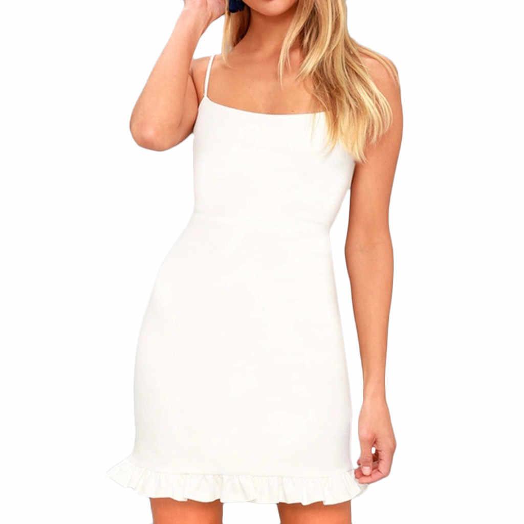 2019 letnia sukienka kobiety Plus Size na co dzień kobiety bez rękawów Spaghetti pasek na ramię Skinny wąska sukienka na przyjęcie wieczorowe # N05
