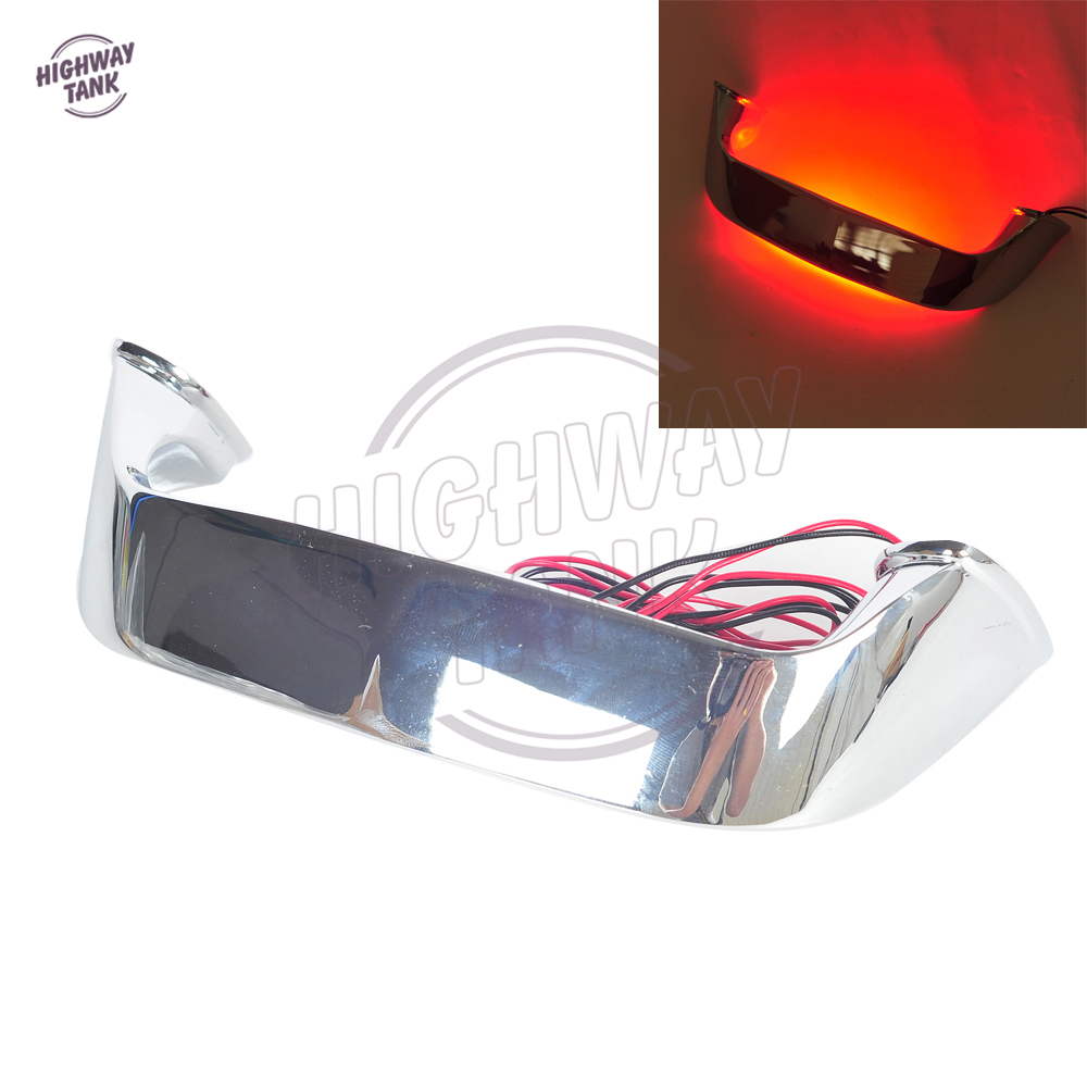 Chrome Motorcycle Rear LED Lighted Trunk Lid Handle Light case for Honda Goldwing GL 1800 GL1800 2001-2016 high quality chrome rear trunk streamer for honda jazz fit 09 up free shipping brand new