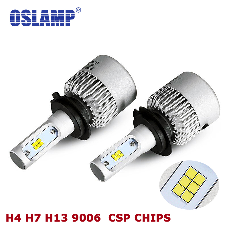 Oslamp 6500K Led CSP Chips H7 LED Headlight 72W/set Head Lamps Auto Styling Car H4 LED Bulbs with Cooling Fan 8000lm All-in-one 1 set h4 led hi lo beam car headlight bulbs auto front led lamps 36w bulb 9000lm all in one csp chips 6500k cold white 12v 24v