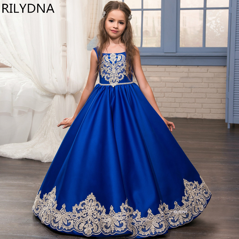 Elegant Ball Gown Fashion Flower Girls Dresses Scoop Neckline Zipper Back Girls Pageant First Communion Gowns For Wedding