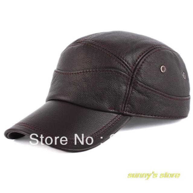 Hot selling  Winter male genuine leather hat baseball cap Large adjustable ear men's the elderly thick,