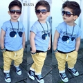 2016 new children's clothing suit baby boys short sleeve t shirt+yellow pants 2pcs kids clothing set glasses printed