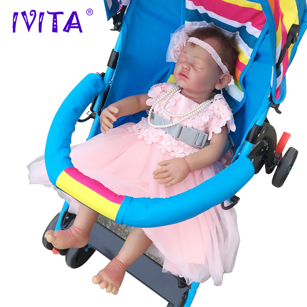 IVITA 22inch/4.6kg Girl Eyes Closed Root Hair Painted With Movable Skeleton Silicone Dolls Reborn Baby Born Full Body Alive ivita 18inch 3 2kg girl black skin reborn doll full silicone eyes closed silicone reborn dolls baby born full body alive doll