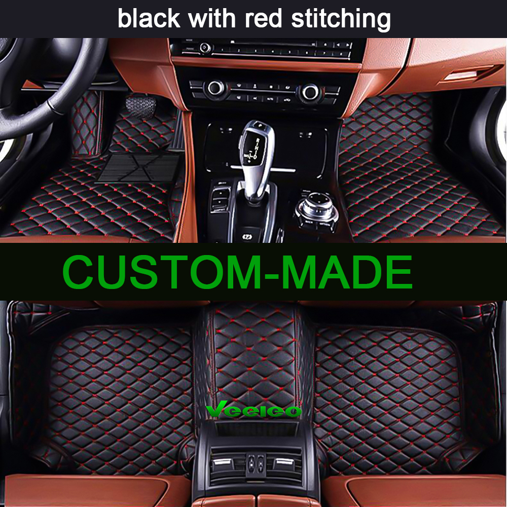 Veeleo 6 Colors Leather Car Floor Mats For Toyota Sienna 7 Seats