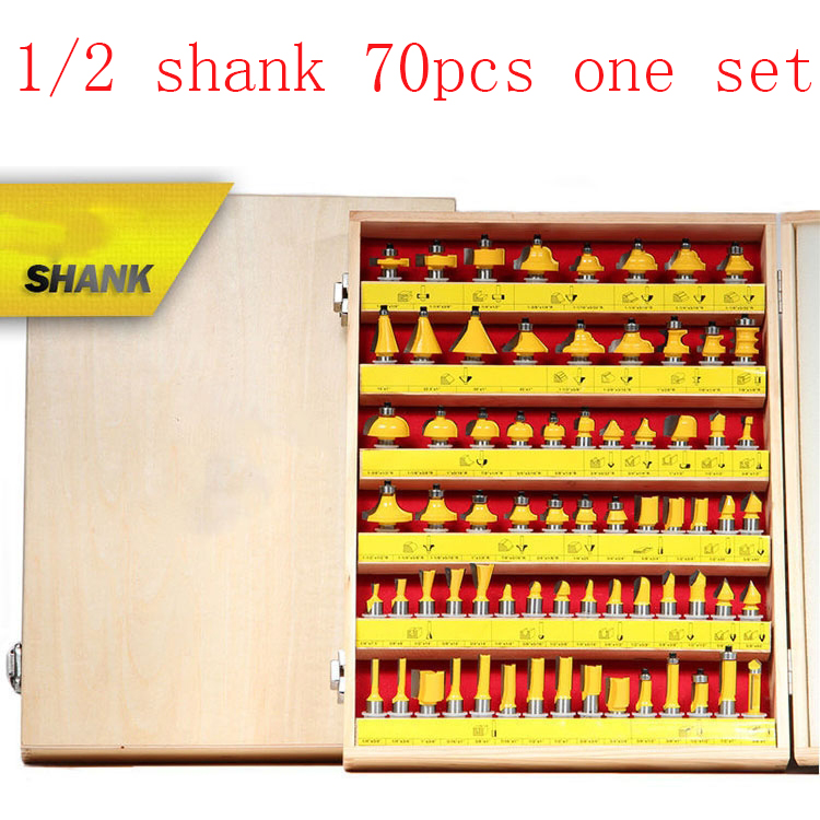 free shipping 70pcs Milling Cutter Router Bit Set 12.7mm Wood Cutter Carbide Shank Mill Woodworking Engraving Cutting Tools high quality wood milling cutter biscuit jointing router bit carbide tipped 1 2 shank woodworking router bits carbide end mill