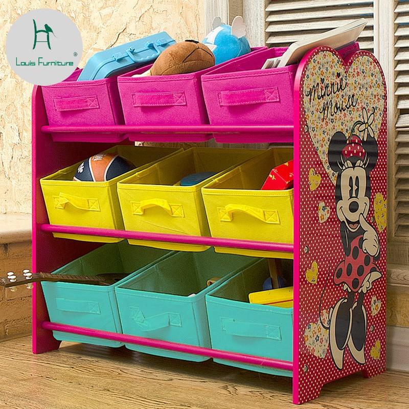 Louis Fashion Children Cabinets Modern Simple Store Multi-storey Shelves Toy Box Corner Household