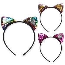 6 Kleuren Fashion Pailletten Kat Oor Haarband Kat Oor Cosplay Kids Haar Accessoires Voor Vrouwen Party Gift Hoofdband