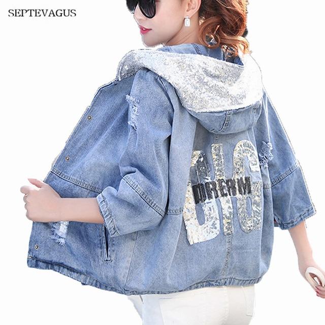 0905247be4989 Spring Autumn Women Oversized Short Denim Jacket Jeans jacket Ladies Female  Denim Jackets with Hood for Women Tops Plus Size