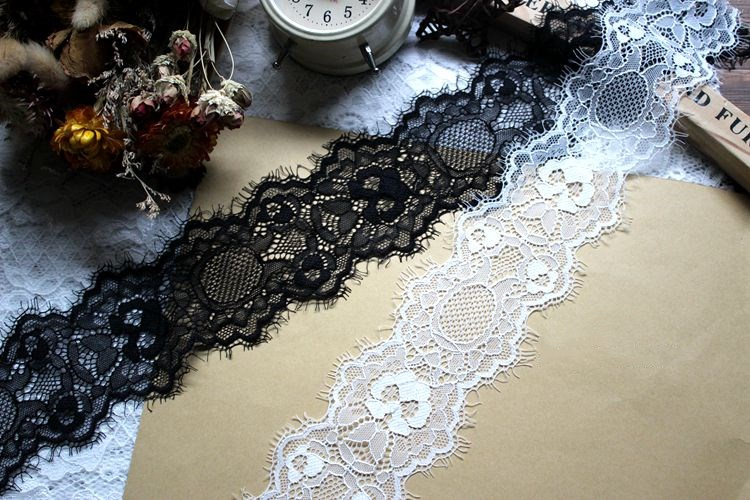 Sewing DIY Making and DIY Crafts-5 Yards Lace Realm 6 inches Wide Black Stretchy lace Ribbon Elastic Trim Fabric with Floral Pattern for Bridal Wedding Decorations 796 Black