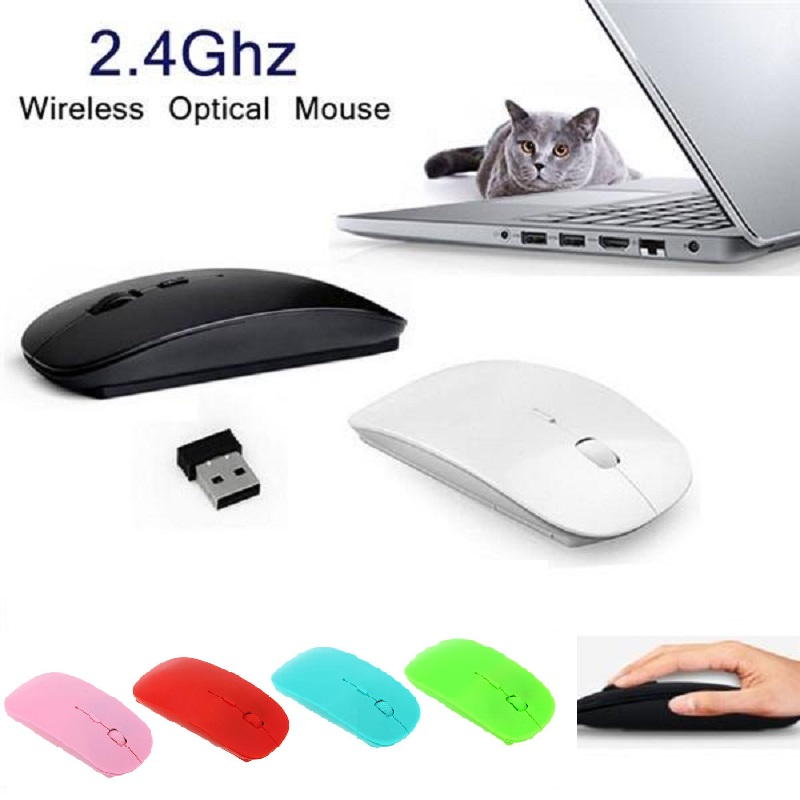 1600 DPI USB Optical Wireless Computer Mouse 2.4G Receiver Super Slim Mouse For Computer PC Laptop Android TV