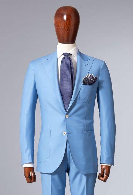 2017 Italian Style Sky Blue Groom Tuxedos For Beach Wedding Mens ...