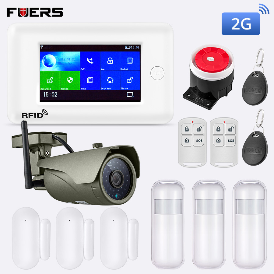 FUERS 2019 New PG106 2G 3G GPRS GSM Wireless Burglar Home Security Anti Theft WiFi Alarm System Kit APP Control With IP Camera