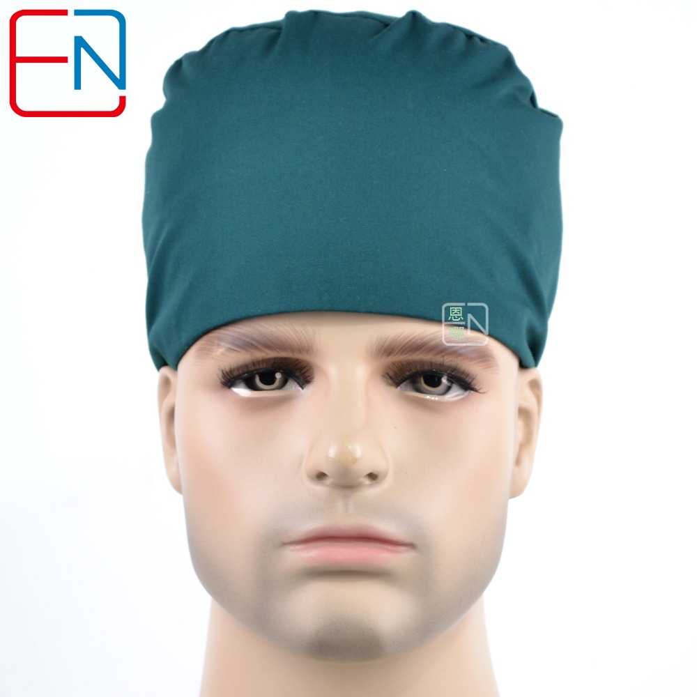 Surgical Caps For Male Doctors T/C 65/35  Hat  For Short Hair Pure Color Dark Green Medical Caps Men