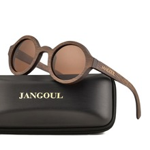 جانجول ديزاين نظارة شمسية خشبية كلاسيكية من الخيزران نظارات شمس بإطار خشبي طبيعي للرجال والنساء نظارات ريترو يدوية 023