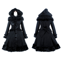 Gothic Lolita Style Women Woolen Coats with Hat Punk Autumn Winter Sweet Shawl Fur Coats Fashionable Long Jacket Casual Overcoat