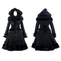 Gothic Lolita Style Women Woolen Coats with Hat Punk Autumn Winter Sweet Shawl Fur Coats Fashionable Long Jacket Casual Overcoat