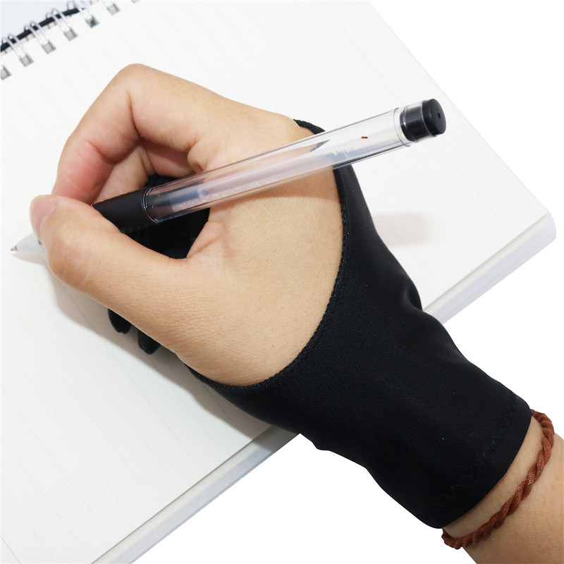 2 Pcs Free Size 2-Finger Graphic Tablet Drawing Anti-Touch Gloves Professional Artist Drawing Glove For Both Right And Left Hand