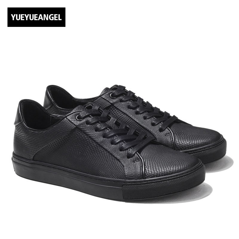 High Quality Men Low Top Sneakers Black White Casual Leather Shoes Male Plaid Students Streetwear Lace Up Flats Driving Shoes lace up plunge neckline high low sweater