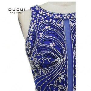Image 5 - Robe sirène diamant De luxe, robe De soirée Vintage élégante, bleu Royal, Scoop, style sirène, collection 2019, OL103168