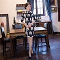 Free Shipping Half Sleeve Traditional Chinese Dress Women's Traditional Clothing Printing Cheongsam Black Qipao Dresses Purple