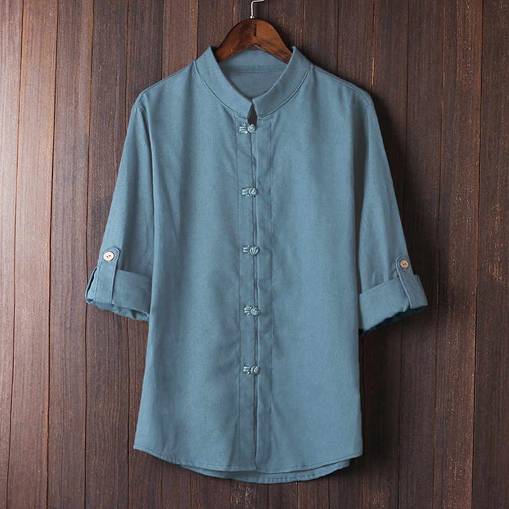 2018 新ファッションリネンシャツ男性古典的な中国風のカン Fuman シャツトップス唐装リネンカジュアル高品質 c0420