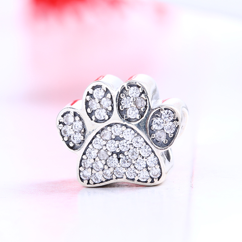 High Quality 925 Sterling Silver Dog Footprint Charms Pave CZ Beads Fit Original DIY Pandora Charm Bracelet Authentic Jewelry