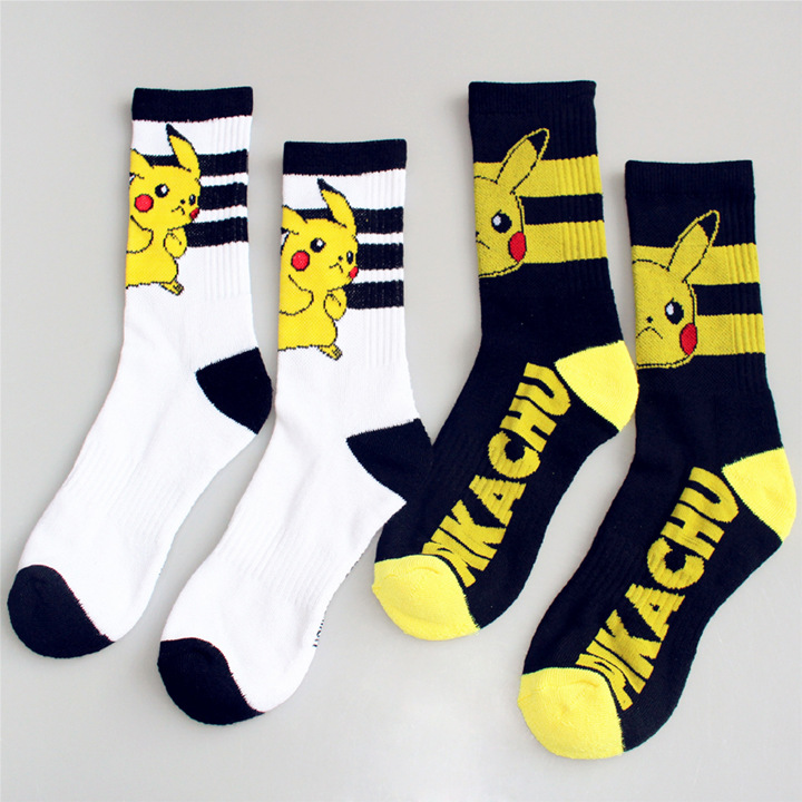 Pokemon GO Cartoon Socks Women Men Cosplay Knee-High Socks Pikachu Evee Raichu Antiskid Casual Crew Socks Chaussette Black White