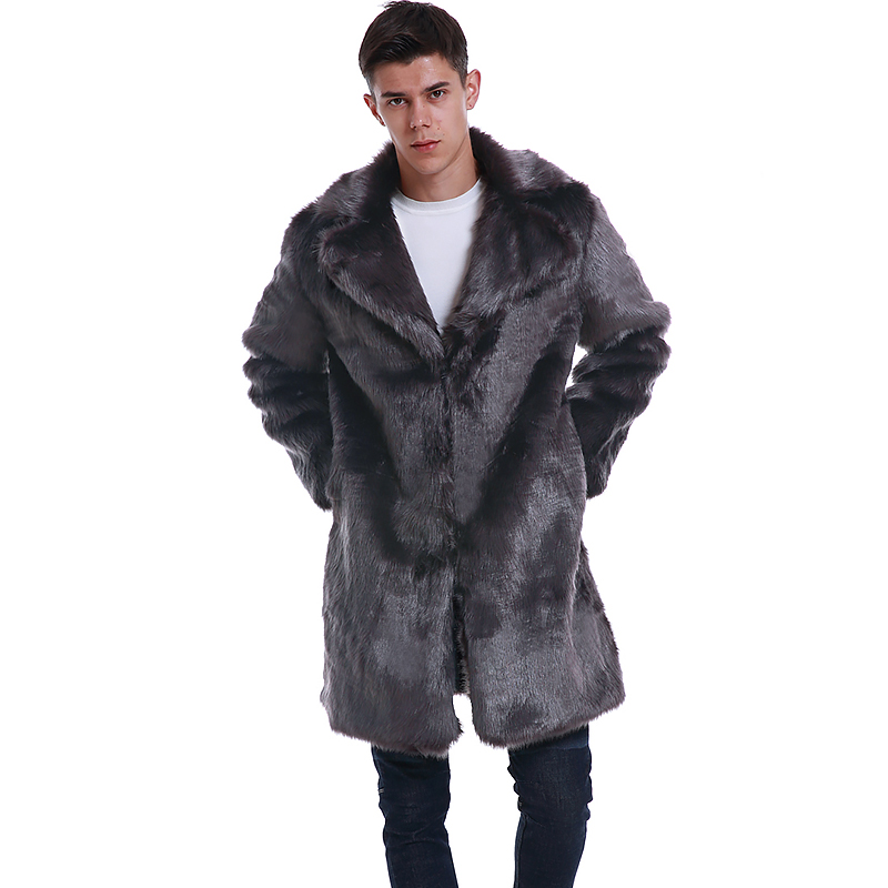 High Quality Mens Faux Fur Coat Long Winter Thicken Warm Fur Jackets Turn Down Collar Gray Imitation Fur Trench Coat Plus Size