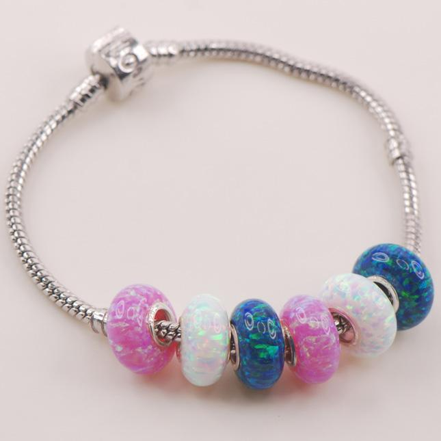15mm White Blue Pink Fire Opal Solid 925 Sterling Silver beads Fit Charm Bracelet Pendant Wholesale Jewelry Free Shipping
