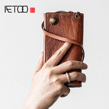 AETOO Head cowhide Wallet male long wealth cloth retro leather ticket clip anti-theft vintage fashion