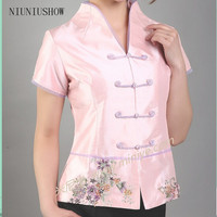 Hot Sale Pink Vintage Chinese Women S Silk Satin Shirt Top V Neck Short Sleeves Clothing