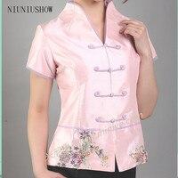 Hot Sale Pink Vintage Chinese Women S Silk Satin Shirt Top V Neck Short Sleeves Clothing