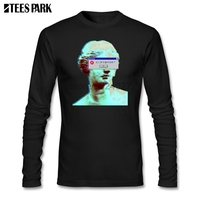 Vaporwave Blinded Window T shirt Man Fashion O Neck Long Sleeve Shirts Male Clothing The T Shirts Abstract Printing Tops