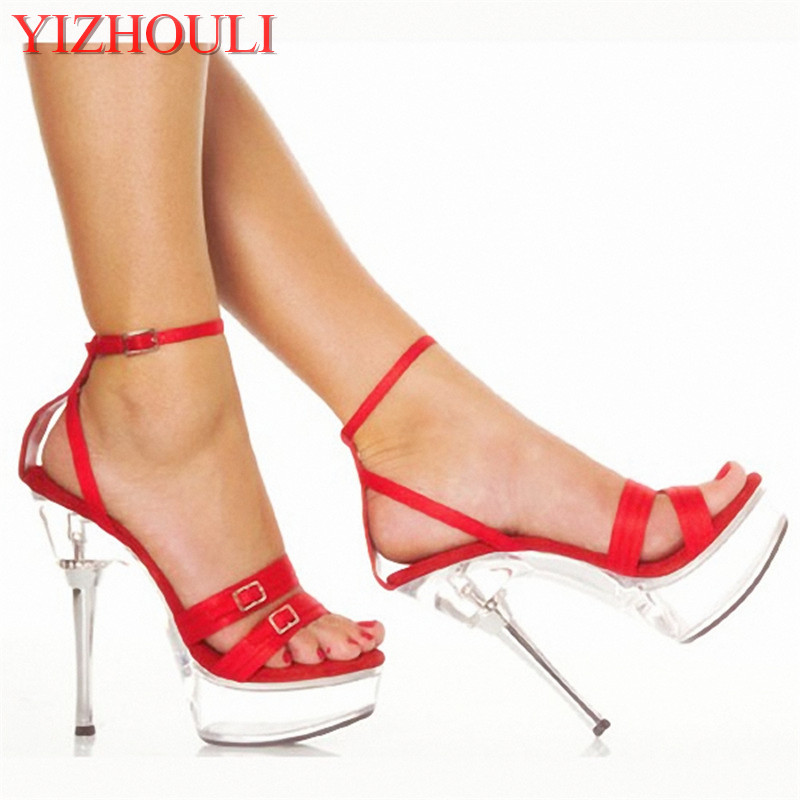 Фотография 14cm exotic strappy shoes 5Inch Metal diamante Crown heel with satin buckle details and straps High-heeled shoes Black Red