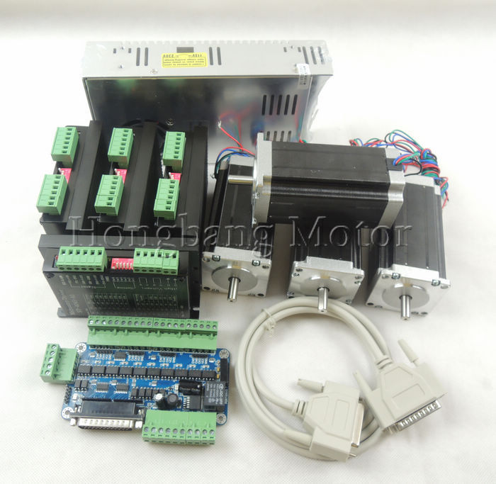 CNC Router 4 Axis kit, 4pcs TB6600 drivers +one breakout board + 4pcs Nema23 425 Oz-in stepper motor + 350W power supply#ST-4045 cnc router 4 axis kit tb6600 4 axis mach3 stepper motor driver controller kit 5a one 5 axis breakout board for nema23 motors