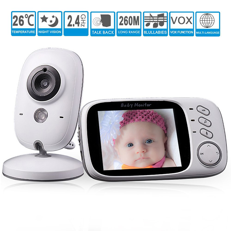 VB603 Video Baby Monitor 2.4G Wireless 3.2 Inches LCD 2 Way Audio Talk Night Vision Surveillance Security Camera Baby Babysitt
