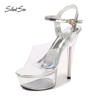Silentsea Sexy Women Sandals Clear Transparent Nightclub Sandals Womens Steel Tube Dancing Shoes Female New Catwalk High Heel