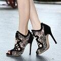 Женщины Насосы женская обувь на высоких каблуках sapato feminino женская обувь peep toe женщины посланник chaussure femme свадебные туфли большой