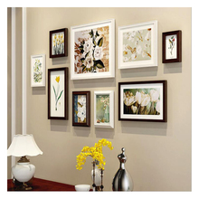9 pcs/set  Europe modern Style Wooden Photo Frame Wall Cheap Set Creative Combination Picture