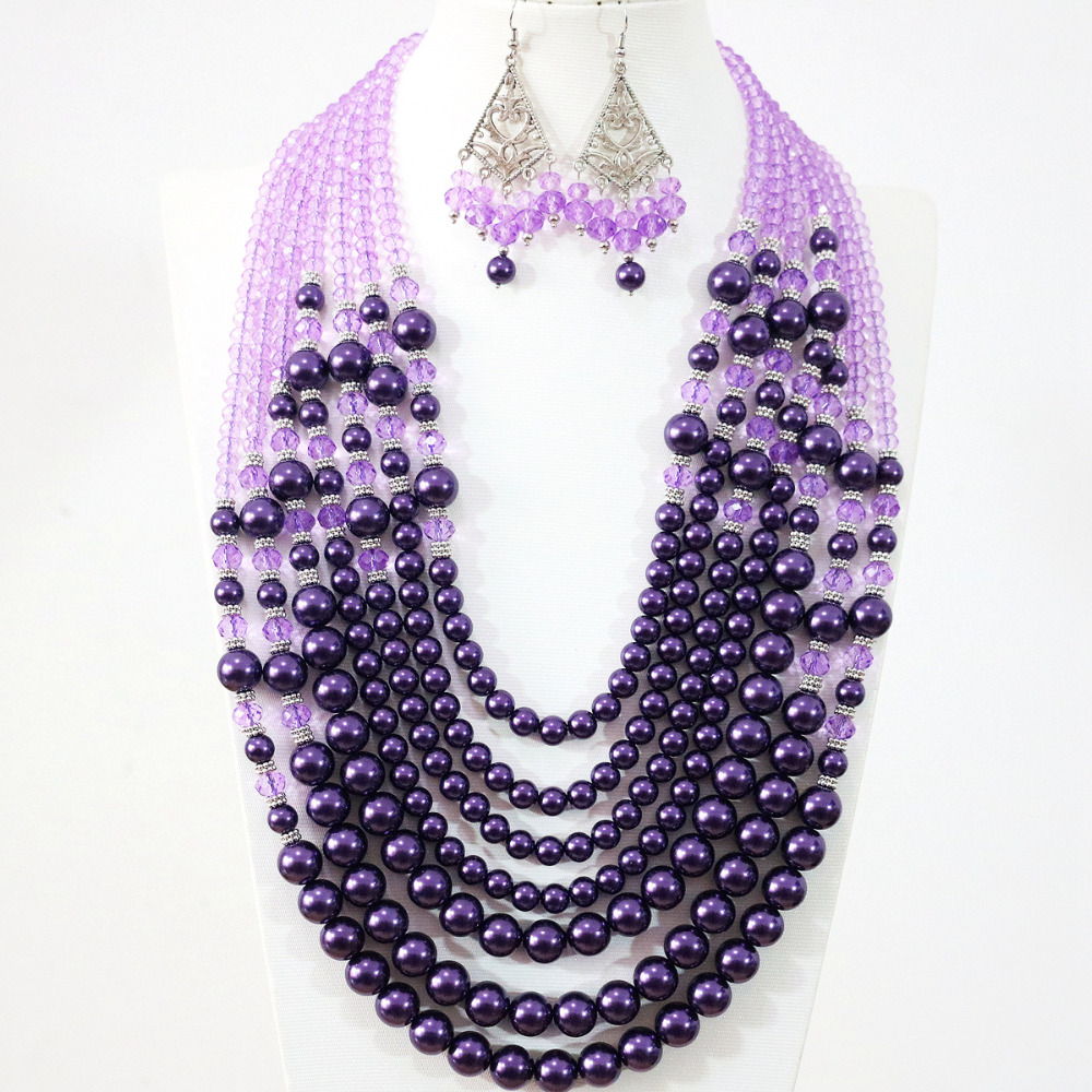 New fashion women purple imitation shell pearl crystal beads 7 rows necklace earrings charms handmade Bohemia jewelry set B1313