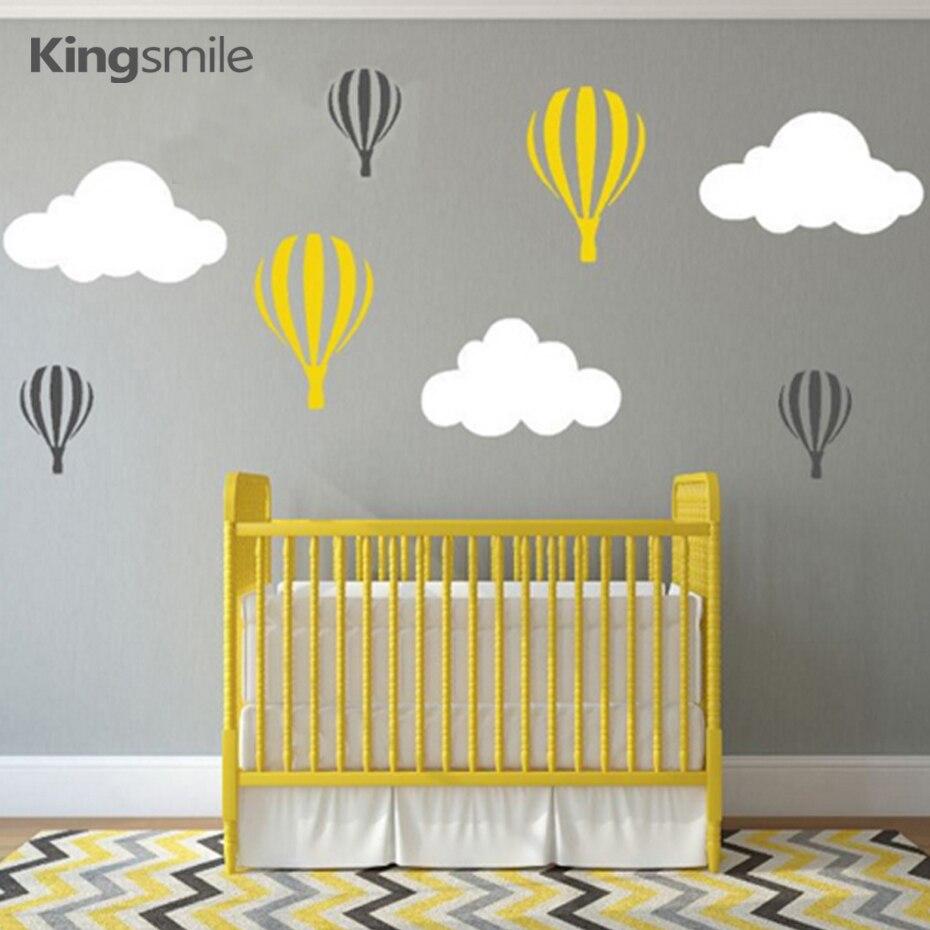 Modern Hot Air Balloons Clouds Nursery Wall Stickers Vinyl Wall Art Decals  Baby Children Bedroom Decorations