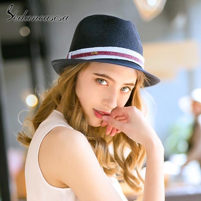 a7a4a573 Sedancasesa Brand 2019 New Sun Visors Cap Fedora Ladies Summer Sun Hats  Beach Hats for Women Straw Hat Wholesale Chapeau
